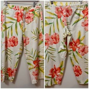 George Stretch Cropped Pink Floral Pants Size 8